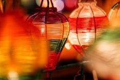 Papierowi lampiony na ulicach Hoi obrazy royalty free