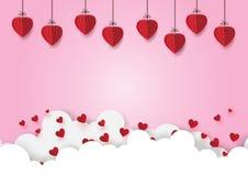 01 Papierowi serca wiesza na różowym niebie royalty ilustracja