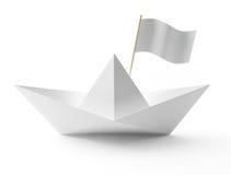 papierowy łódź biel Obraz Stock