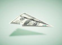 Papierowy dolara samolot Zdjęcia Royalty Free