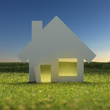 Papierowy dom przy zmierzchem ilustracja wektor