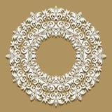 Papierowy koronkowy tło, round winieta, ornamentacyjny koronkowy fr ilustracja wektor