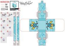 Papierowy kosza wzór dla Easter wakacje z kurczakiem ilustracji