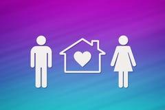 Papierowy mężczyzna, kobieta i dom, Mieścący, rodzinny pojęcie abstrakcjonistyczny konceptualny royalty ilustracja
