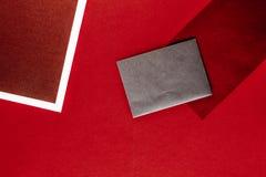 Papierowy materia?y dla projekta i oznakowa?, flatlay mockup fotografia stock