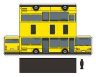 Papierowy model żółty autobus royalty ilustracja