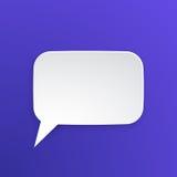 Papierowy mowa bąbel dla rozmowy przy prostokątnym kształtem Fotografia Stock