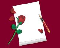 papierowy pióra czerwieni róży prześcieradło Zdjęcie Stock