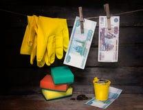 Papierowy pieniądze i rękawiczki wiesza na arkanie pieniądze pralniczy wektor Fotografia Stock