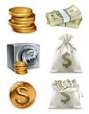 Papierowy pieniądze i złocista moneta, moneybag kartonowe koloru ikony ustawiać oznaczają wektor trzy ilustracji
