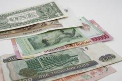 Papierowy pieniądze różny kraj Zdjęcia Royalty Free