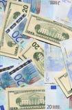 Papierowy pieniądze UE i Stany Zjednoczone obrazy royalty free