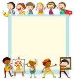 Papierowy projekt z dziećmi robi aktywność ilustracji