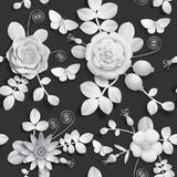 Papierowy rzemiosło 3D dziki wzrastał kwiaty, rosehip jagody i motyliego bezszwowego wzór, Wektorowy ilustracja zapasu wizerunek Fotografia Stock