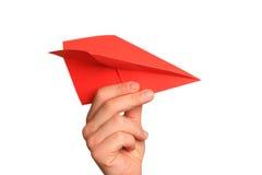Papierowy samolot w ręce Zdjęcia Stock