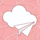 Papierowy samolotu i chmury wektoru tło Obrazy Stock