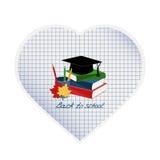 Papierowy serce z książkami, jesień liśćmi, kapeluszem i ołówkami, Zdjęcie Royalty Free