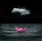 Papierowy statek przy morzem Fotografia Stock
