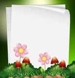 Papierowy szablon z kwiatami i pieczarką w tle ilustracji
