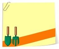 Papierowy szablon z ogrodowym rozwidleniem i łyżką Obraz Stock