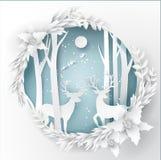 Papierowy sztuka krajobraz Bożenarodzeniowy i szczęśliwy nowy rok z drzewem ilustracji