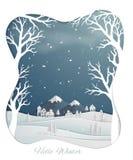 Papierowy sztuka projekt z wsią i śniegi zakrywający wzgórza w zimie przyprawiamy royalty ilustracja