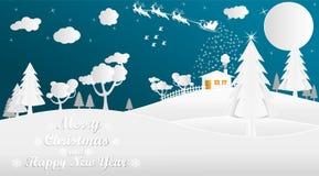 Papierowy sztuka styl dla bożych narodzeń i nowego roku royalty ilustracja