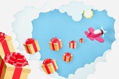 Papierowy sztuka styl serce kształtująca chmura z menchiami hebluje latanie i rozprasza złocistych prezentów pudełka ilustracji