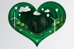 Papierowy sztuka styl serce zieleni miasteczko z ekologii pojęcia pomysłem Zdjęcia Stock