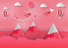 Papierowy sztuka styl walentynka Z balonem, górami, sercem i samolotem, Wektorowy tło ilustracji
