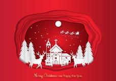 Papierowy sztuki cyzelowanie zima wakacje śnieg w grodzkim tle z Santa, rogaczem i drzewem, wektorowa ilustracja ilustracji