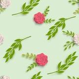 Papierowy sztuki lato kwitnie z liścia wzoru bezszwowym cięciem papier budowy ilustraci zapas pod wektorem fotografia stock