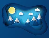 Papierowy sztuki origami krajobraz z górami z śniegiem Zdjęcia Stock