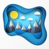 Papierowy sztuki origami krajobraz z górami z śniegiem Obraz Royalty Free