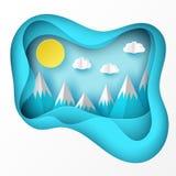 Papierowy sztuki origami krajobraz z górami z śniegiem, Zdjęcie Stock
