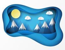 Papierowy sztuki origami krajobraz z górami z śniegiem, whi Obrazy Stock