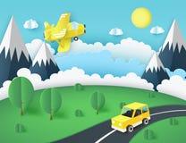 Papierowy sztuki tło, żółty samolot w niebie, samochód ilustracji