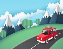 Papierowy sztuki tło, czerwony samochód z bagażem na drogowym pobliskim moun royalty ilustracja