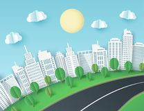 Papierowy sztuki tło z miasto widokiem Puszyste papierowe chmury, droga, ilustracji