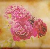 papierowy tło z menchia kwiatem Zdjęcia Royalty Free