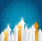 Papierpfeilhintergrund - kreatives Geschäft Stockfotos
