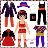 Papierpuppe mit einem Satz Mode kleidet. Nettes Hippie-Mädchen. Stockfotografie