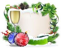 Papierrolle mit Glas Champagner und Weihnachtsverzierungen lizenzfreie abbildung