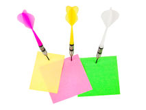 Papiers de note et flèches de dards Images libres de droits