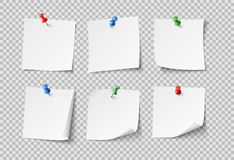 Papiers de note Notes collantes vides blanches avec des goupilles de couleur Personne ensemble de papier de vecteur d'isolement illustration libre de droits