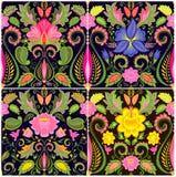 Papiers peints de vintage avec les fleurs exotiques Images libres de droits