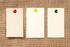 Papiers sur une toile Photographie stock