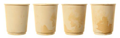 Papiers utilisés de tasse de café Photographie stock