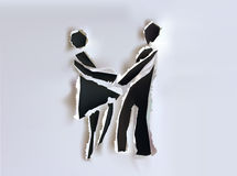 Papiersammlungshintergrund mit glücklichem Paar und Kuss Stockbild