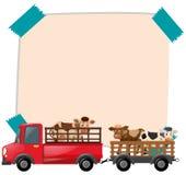 Papierschablone mit Kühen auf LKW Stockfotografie